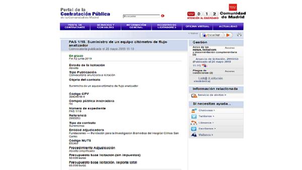 Expediente de contratación Fundación de Investigación Biomédica Hospital Clínico San Carlos
