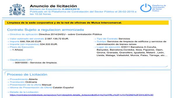 Evaluación 24 lotes del concurso Limpieza de la sede corporativa y de la red de oficinas de Mutua Intercomarcal